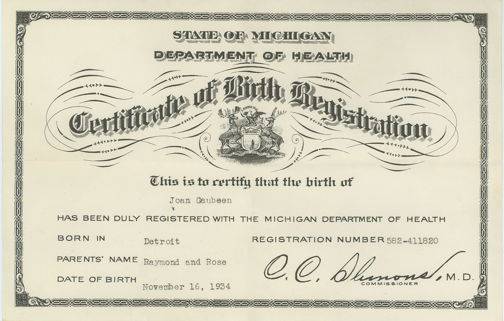Birth And Baptism Certificates Joan Gaubeen Certificate Of Birth