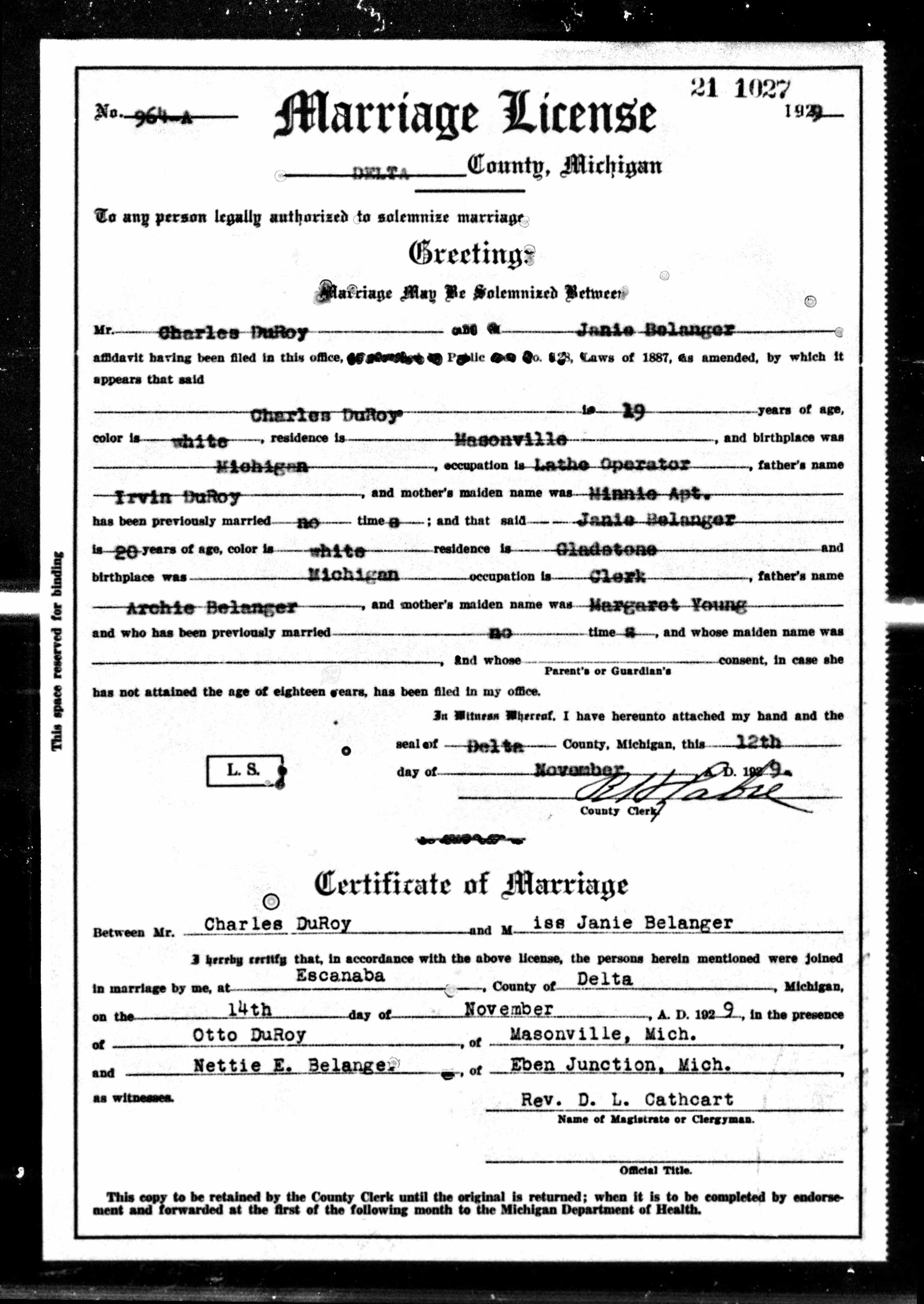 Marriage Returns and Licenses: Charles Duroy and Janie