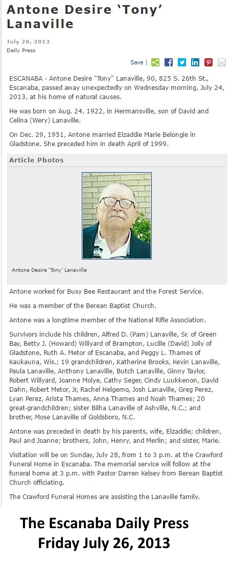 Obituaries: Antone Desire Lanaville - Obituary: Walters Family Tree