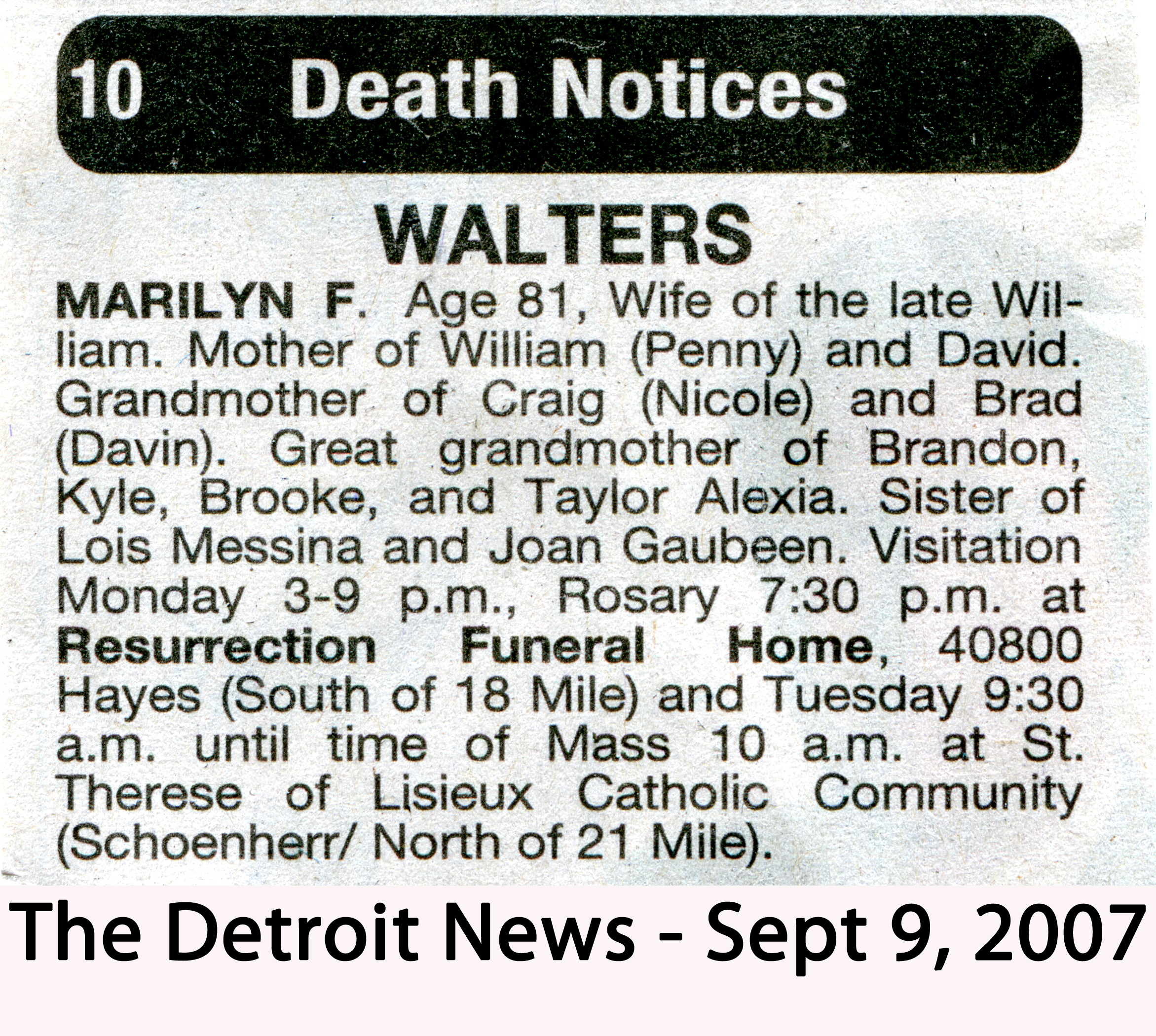 Obituaries Marilyn F Waltrers Death Notice The Detroit News
